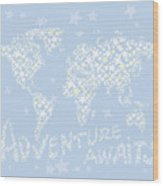World Map White Star Pastel Blue Wood Print