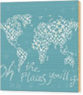 World Map White Star Turquoise Wood Print