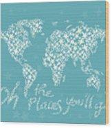 World Map White Star Turquoise Wood Print