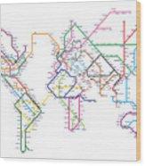World Metro Map Wood Print by Michael Tompsett