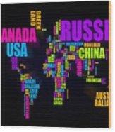 World Text Map 16x20 Wood Print