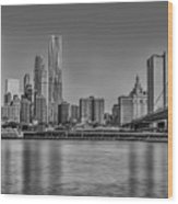 World Trade Center And The Brooklyn Bridge Bw Wood Print