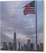 World Trade Center Freedom Tower New York City American Flag Wood Print