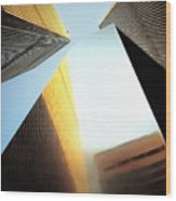 World Trade Center Towers And The Ideogram 1971-2001 Wood Print