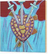 World Turtle Three Of Swords Wood Print