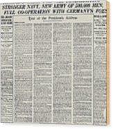 World War I: Declaration Wood Print