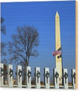 World War II Memorial And Washington Monument Wood Print