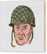 World War Two American Soldier Head Drawing Wood Print