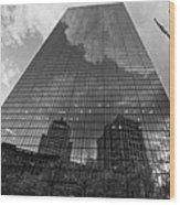 World's Largest Canvas John Hancock Tower Boston Ma Black And White Wood Print