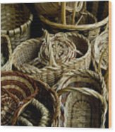Woven Baskets For Sale At A Market Wood Print