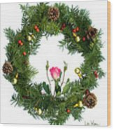 Wreath With Rose Wood Print
