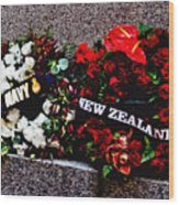 Wreaths From New Zealand And Our Navy Wood Print