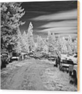 Wrecking Yard In Infrared 3 Wood Print