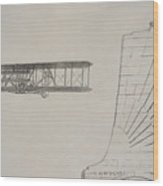 Wright Brothers Memorial Plane Sketch Wood Print