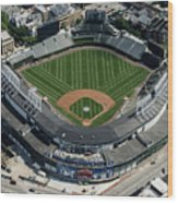 Wrigley Field In Chicago Aerial Photo Wood Print