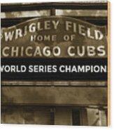 Wrigley Field Sign - Vintage Wood Print
