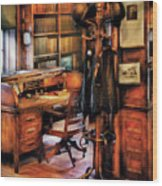 Writer - A Hard Day At Work Wood Print by Mike Savad