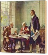Writing Declaration Of Independence Wood Print