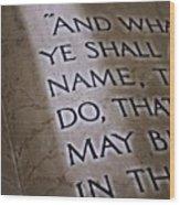 Written In Stone Wood Print