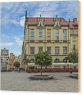 Wroclaw Market Square, New Town Hall And Tenement Houses Wood Print