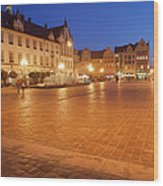 Wroclaw Old Town Market Square At Night Wood Print