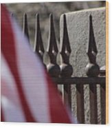 Wrought Iron And American Flag Wood Print