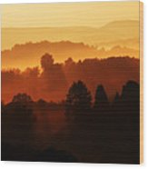 Wv Misty Mountain Sunrise Mirror Image Wood Print