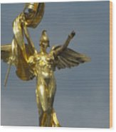 Wwi Gold Winged Victory Statue Wood Print