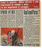Wwii: Italian Newspaper Wood Print