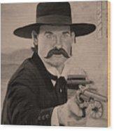 Wyatt Earp - Kurt Russell B And W Wood Print