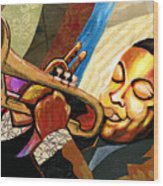 Wynton Marsalis Wood Print by Everett Spruill