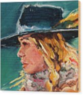 Wyoming Cowgirl Close Wood Print