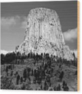 Wyoming Devils Tower National Monument With Climbers Bw Wood Print