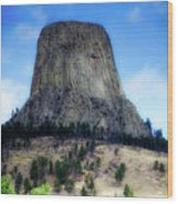 Wyoming Devils Tower With 8 Climbers August 7th 12 36pm 2016 Wood Print