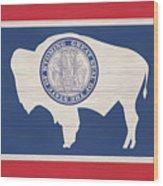 Wyoming Rustic Flag On Wood Wood Print