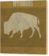 Wyoming State Facts Minimalist Movie Poster Art Wood Print