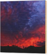 Wyoming Sunset On Fire Wood Print