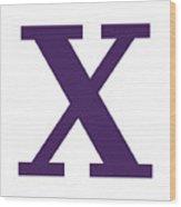 X In Purple Typewriter Style Wood Print