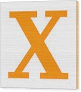 X In Tangerine Typewriter Style Wood Print