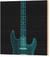 X-ray Electric Guitar Wood Print by Michael Tompsett