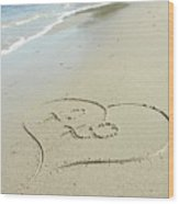 Xoxo - Message Written In The Sand Wood Print