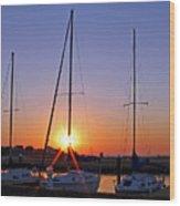Yacht Club Sunrise Wood Print