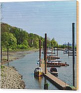Yacht Harbor On The River. Film Effect Wood Print