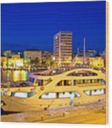 Yacht In Zadar Harbor Evening View Wood Print