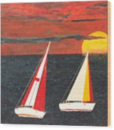 Yacht Racing Wood Print