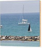 yacht sailing in the Mediterranean sea Wood Print