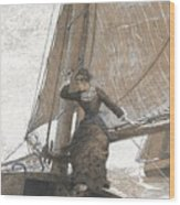 Yachting Girl Wood Print