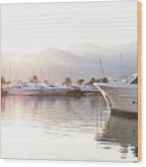 Yachts At The Sunset Wood Print