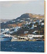 Yachts Docked At Port Skala Greece On Patmos Island Wood Print