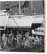 Yachts On Drydock Wood Print